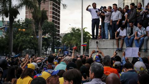"""Opposition lawmaker Juan Requesens addresses a rally in Caracas on July 31. Two other leading opposition figures, Leopoldo Lopez and Antonio Ledezma,<a href=""""http://www.cnn.com/2017/08/01/americas/venezuela-election-unrest/index.html""""> were rounded up from their homes,</a> according to their families."""