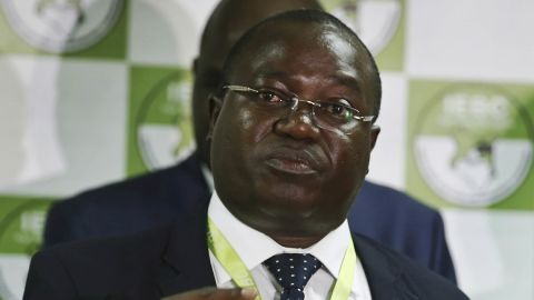 In this photo taken Thursday, July 6, 2017, Christopher Msando, an information technology official for Kenya's electoral commission, speaks at a press conference in Nairobi, Kenya. Msando, an official crucial to running Kenya's presidential election next week, has been found tortured and killed, the electoral commission chairman said Monday, July 31, 2017, as concerns grew that the East African nation's vote again would face dangerous unrest. (AP Photo)