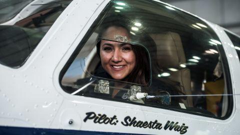 Waiz in her plane at Cairo International Airport on July 2.