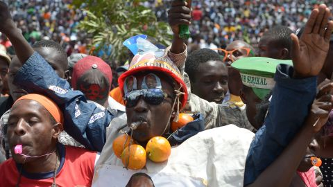 Supporters of Kenya's veteran opposition leader and former prime minister Raila Odinga, attend a rally in the capital Nairobi on April 27, 2017, ahead of the forthcoming elections in August.