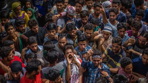 Kashmiris  shout anti-Indian slogans during the funeral of a militant leader killed in a gun battle with police, on August 01, 2017.