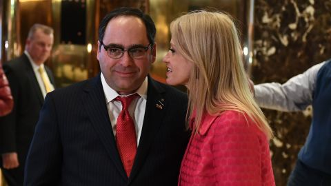 Kellyanne Conway talks with George Gigicos at the Trump Tower lobby in New York on November 17, 2016.