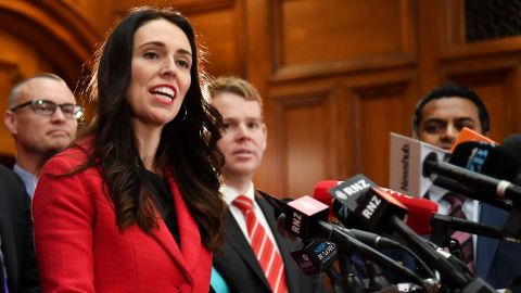 New leader of the Labour Party Jacinda Ardern speaks at her first press conference at Parliament in Wellington on August 1.