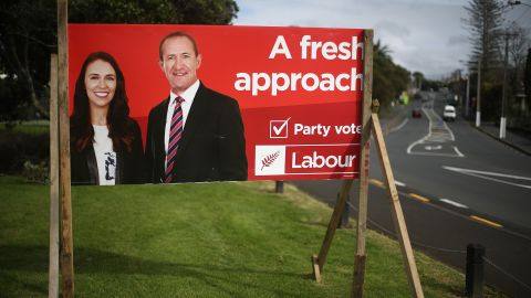 A now outdated Labour election billboard shows Ardern with former leader Andrew Little, taken on August 2.
