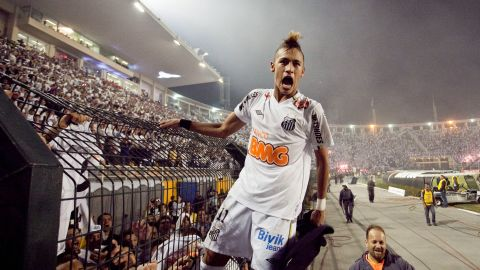 Neymar celebrates after Santos won the Copa Libertadores in June 2011. It was the first time since 1963 that Santos had won the top club competition in South America.