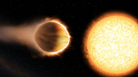 """WASP-121b, 880 light-years away, is considered a hot Jupiter-like planet. It has a greater mass and radius than Jupiter, making it """"puffier."""" If WASP-121b were any closer to its host star, it would be ripped apart by the star's gravity."""
