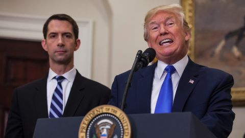 President Donald Trump announces the Reforming American Immigration for a Strong Economy (RAISE) Act on Wednesday.