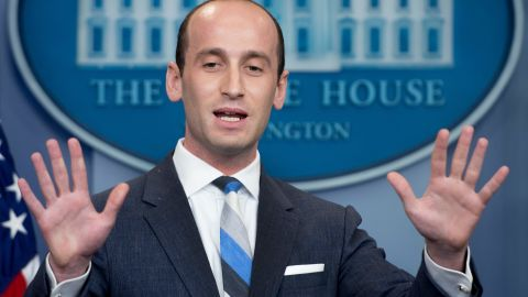 President Donald Trump's senior advisor for policy Stephen Miller speaks during the Daily Briefing at the White House in Washington, DC, on August 2, 2017.   / AFP PHOTO / JIM WATSON        (Photo credit should read JIM WATSON/AFP/Getty Images)