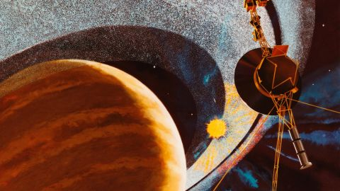 Voyager 1 Passing Saturn, An Artist's Impression