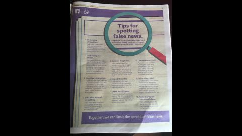 The Standard newspaper in Kenya shows a full-page ad from Facebook advising voters how to spot fake news in the lead-up to the national elections on Tuesday.