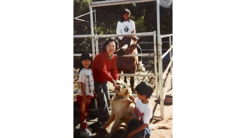 A typical afternoon growing up in the 1990s, with sweet Honey Bear and Sandy, the golden retriever.