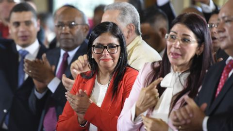 Former Venezuelan Foreign Minister Delcy Rodriguez, center, was elected leader of the new National Consitutent Assembly on Friday.