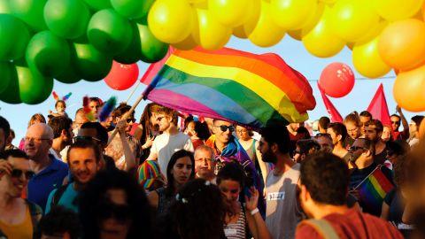 Israeli LGBTQ activists at the annual Gay Pride Parade in June.