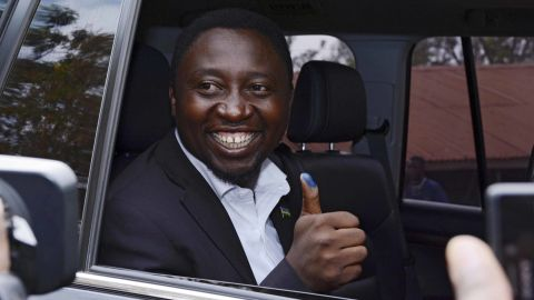 Presidential candidate Frank Habineza, of the opposition Democratic Green Party, gives the thumbs-up after casting his ballot in Kigali.