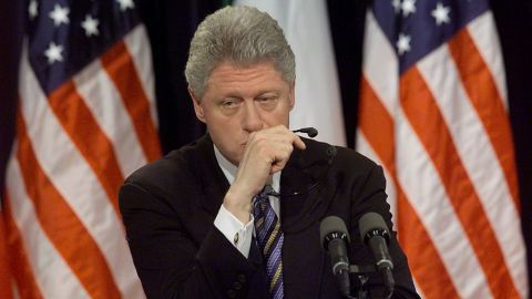 """WASHINGTON, :  US President Bill Clinton pauses a moment while being asked about former White House intern Monica Lewinsky at a joint press conference with Italian Prime Minister Massimo D'Alema 05 March in the White House in Washington, DC. Clinton said he hoped Monica Lewinsky would have """"a good life"""" and get any  help she might need to recover from the traumatic White House sex scandal.    (ELECTRONIC IMAGE) AFP PHOTO/Stephen JAFFE (Photo credit should read STEPHEN JAFFE/AFP/Getty Images)"""