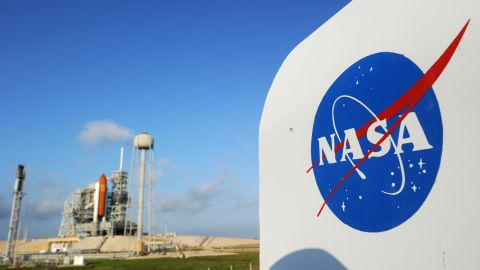 The NASA logo on a protective box for a camera near the space shuttle Endeavour April 28, 2011 at Kennedy Space Center in Florida as preparations are under way for an April 29 launch of Endeavour, which will be its last flight. AFP PHOTO/Stan HONDA (Photo credit should read STAN HONDA/AFP/Getty Images)
