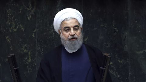 """Iran's President Hasan Rouhani delivers a speech after his swearing-in ceremony for the second term in office, at the parliament in Tehran, Iran, Saturday, Aug. 5, 2017. Rouhani, 68, a moderate cleric who secured re-election on May 19, promised that his country will pursue a """"path of coexistence and interaction with the world."""""""