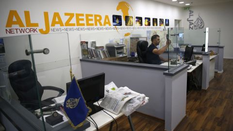 An employee of the Qatar based news network and TV channel Al-Jazeera at the channel's Jerusalem office.