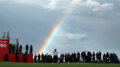 A rainbow appeared over the Kingsbarn course as Kim stepped up to take her shot at the 18th on Saturday.