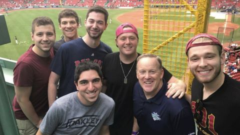 Former Press Secretary Sean Spicer posed for a photo with Boston Red Sox fans.
