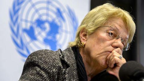 Former war crimes prosecutor Carla del Ponte listens at a Geneva news conference in February, 2013.