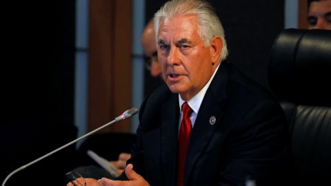 US Secretary of State Rex Tillerson gives an opening statement during the ASEAN-US Ministerial meeting of the 50th Association of Southeast Asian Nations (ASEAN) regional security forum in suburban Manila on August 6, 2017. The annual forum, hosted by the Association of Southeast Asian Nations (ASEAN), brings together the top diplomats from 26 countries and the European Union for talks on political and security issues in Asia-Pacific. / AFP PHOTO / POOL / ERIK DE CASTRO / The erroneous mention[s] appearing in the metadata of this photo by ERIK DE CASTRO has been modified in AFP systems in the following manner: [creation date of August 6] instead of [July 27]. Please immediately remove the erroneous mention[s] from all your online services and delete it (them) from your servers. If you have been authorized by AFP to distribute it (them) to third parties, please ensure that the same actions are carried out by them. Failure to promptly comply with these instructions will entail liability on your part for any continued or post notification usage. Therefore we thank you very much for all your attention and prompt action. We are sorry for the inconvenience this notification may cause and remain at your disposal for any further information you may require.        (Photo credit should read ERIK DE CASTRO/AFP/Getty Images)