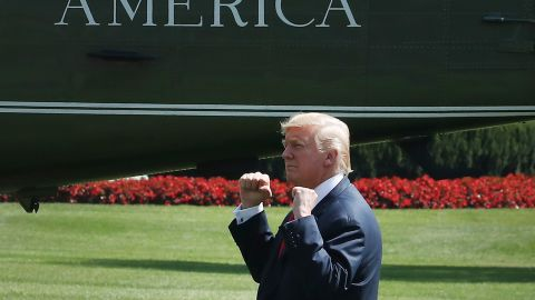 WASHINGTON, DC - AUGUST 04: President Donald Trump gestures to a crowd gathered to watch him depart on Marine One from the White House on August 4, 2017 in Washington, DC. President Trump is traveling to Bedminster, N.J. for his summer break. (Photo by Mark Wilson/Getty Images)