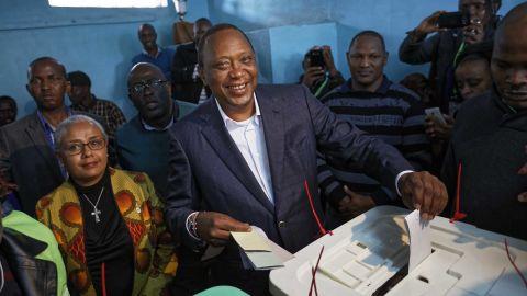 Kenyan President Uhuru Kenyatta casts his vote on Tuesday.