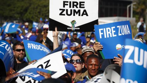 Protesters march against South African president Jacob Zuma in Cape Town, South Africa 08 August 2017.