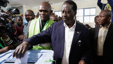 Raila Odinga casts his ballot in Nairobi on Tuesday.