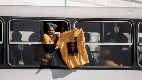 Zuma supporters on their way to demonstrate parliament debated a no-confidence motion.