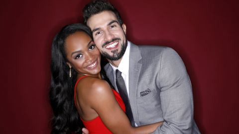 """Rachel Lindsay was cast as the first black """"Bachelorette"""" during season 13 and her suitors were diverse in both age and race. She selected Bryan Abasolo in August 2017 and the couple are engaged."""