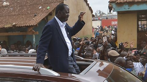 National Super Alliance presidential candidte Raila Odinga arriving at Old Kibera primary school to cast his vote on Tuesday.