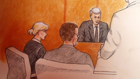 In this sketch by courtroom artist Jeff Kandyba, pop singer Taylor Swift, left, looks on a former radio host David Mueller, background right, speaks during the trial.