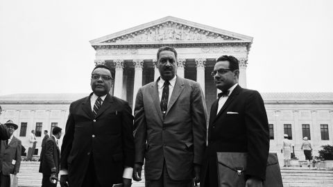 The NAACP is known for its civil rights work in the legal arena. But will the legacy of NAACP giants like Thurgood Marshall, in center, matter much in the era of Black Lives Matter?