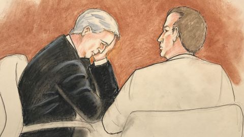 A courtroom sketch shows David Mueller with his attorney.