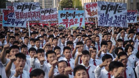 North Koreans in Pyongyang attend an anti-US rally on Wednesday.