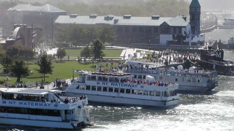 New York Waterway boats nose up to the sea wall at Robert F. Wagner Jr. Park, north of Pier A (with the green-roofed tower). Just out of view is a small dock where Chelsea Screamer Capt. Sean Kennedy asked firefighters to break the lock so passengers could board.