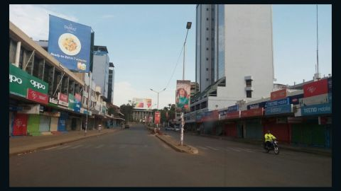"""Kisumu's main street """"Oginga Odinga street,"""" named for Raila's father who acted as the country's first vice president, was largely deserted on Friday."""