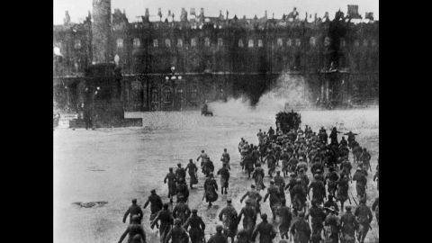 """The 1927 film """"October"""" re-enacts the Bolshevik fighters overthrowing the Provisional Government of Alexander Kerensky in the courtyard of the Winter Palace in Petrograd on November 7, 1917."""