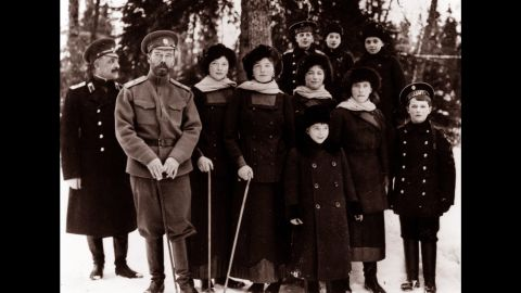 The royal family of Russia, the Romanovs, at Tsarskoye Selo, Russia circa 1916-1917. In March of 1917, Czar Nicholas II of the Russian royal family abdicated the throne. He, his wife and their children were executed following the Bolshevik takeover of Russia.