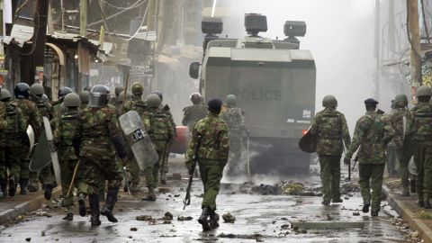Kenyan security forces patrol the Kibera enclave of Nairobi.