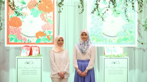 Princess Sarah, pictured right, was the inspiration behind the design, which features five symbols of womanhood:  a wheel (independence), bees (collaboration), a grid (fitness), diamonds (grace), and flowers (femininity).
