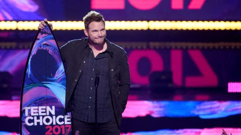 """Chris Pratt acceptsthe  Choice Sci-Fi Movie Actor for """"Guardians of the Galaxy Vol. 2"""" during the Teen Choice Awards 2017  at Galen Center on August 13, 2017 in Los Angeles, California."""