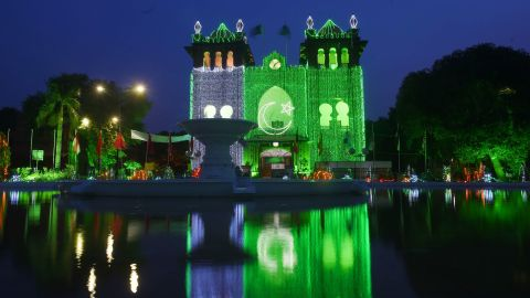 A picture taken on August 13, 2017 in Lahore shows decoration lights to mark Pakistan's Independence day.