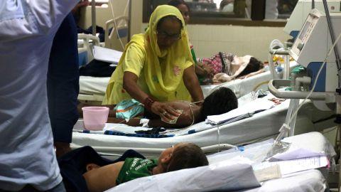 A scene from the ICU unit (ward 100) at BRD Medical College in Gorakhpur, Uttar Pradesh.