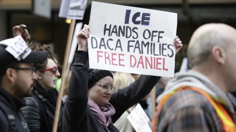 People march to protest the detention of Daniel Ramirez Medina, a DACA recipient, by Immigration and Customs Enforcement in Seattle, Washington on February 17, 2017.