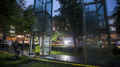The memorial consists of six glass towers, which are lit up at night.