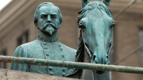 A monument to John Hunt Morgan, a Confederate General during the Civil War, stands near the old Historic Lexington Courthouse in Lexington, Kentucky. (Photo by Bill Pugliano/Getty Images)