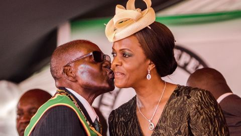 Robert Mugabe kisses wife Grace Mugabe during independence day celebrations in Harare in April.